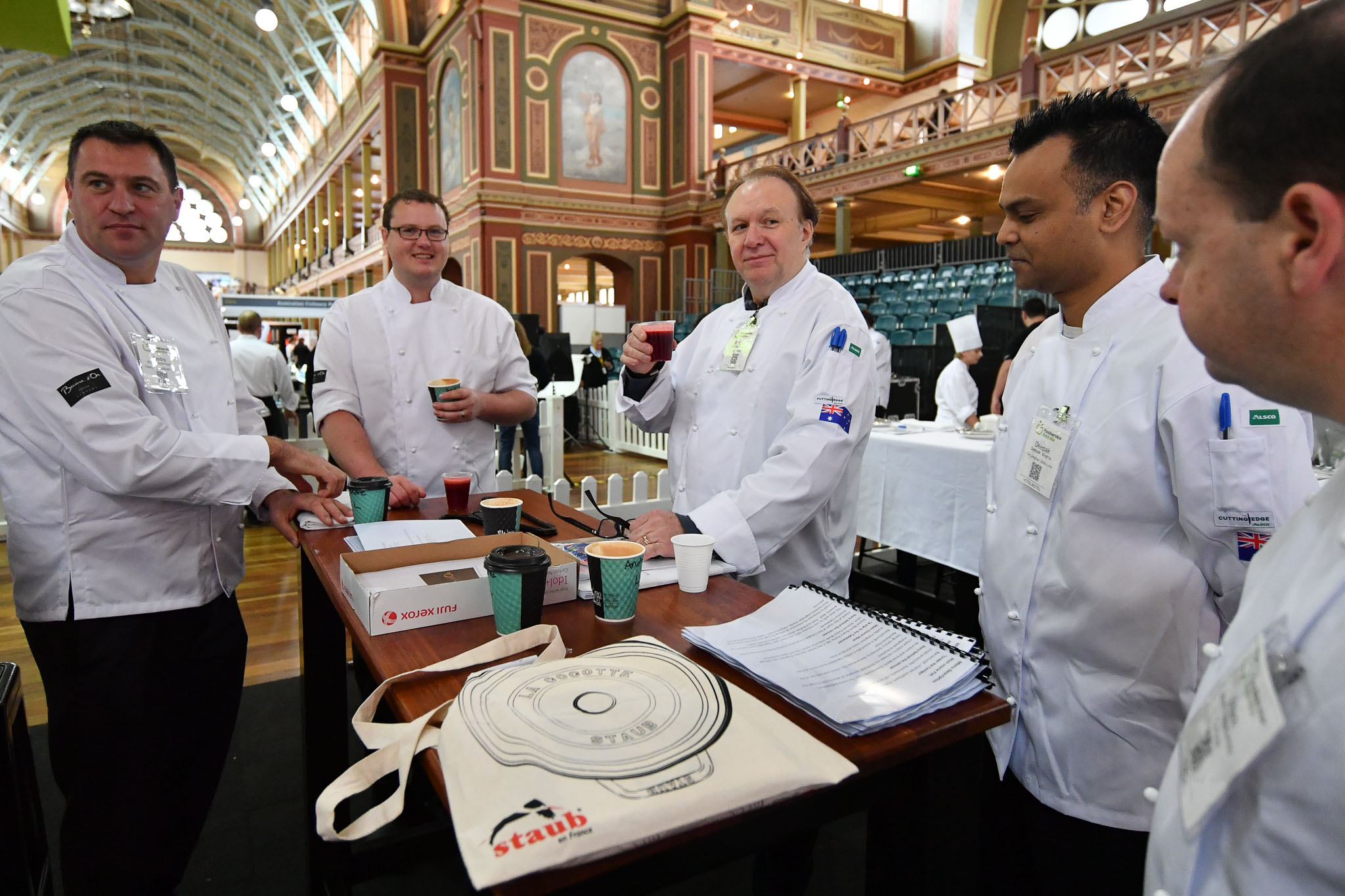 Melbourne, 30 May 2017 - Head judge Philippe Mouchel from the Philippe Restaurant kitchen invigilator judge prepares to brief the judges at the Australian selection trials of the Bocuse d'Or culinary competition held during the Food Service Australia show at the Royal Exhibition Building in Melbourne, Australia. Photo Sydney Low