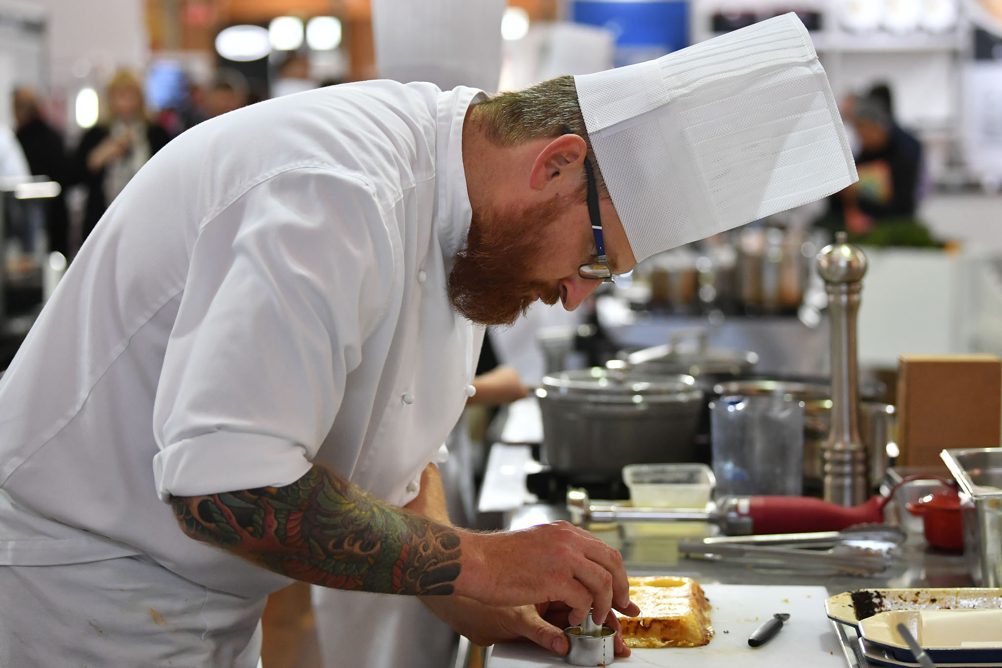 Melbourne, 30 May 2017 - Andrew Ballard of the Simmer Culinary in Mornington prepares a garnish at the Australian selection trials of the Bocuse d'Or culinary competition held during the Food Service Australia show at the Royal Exhibition Building in Melbourne, Australia. Photo Sydney Low