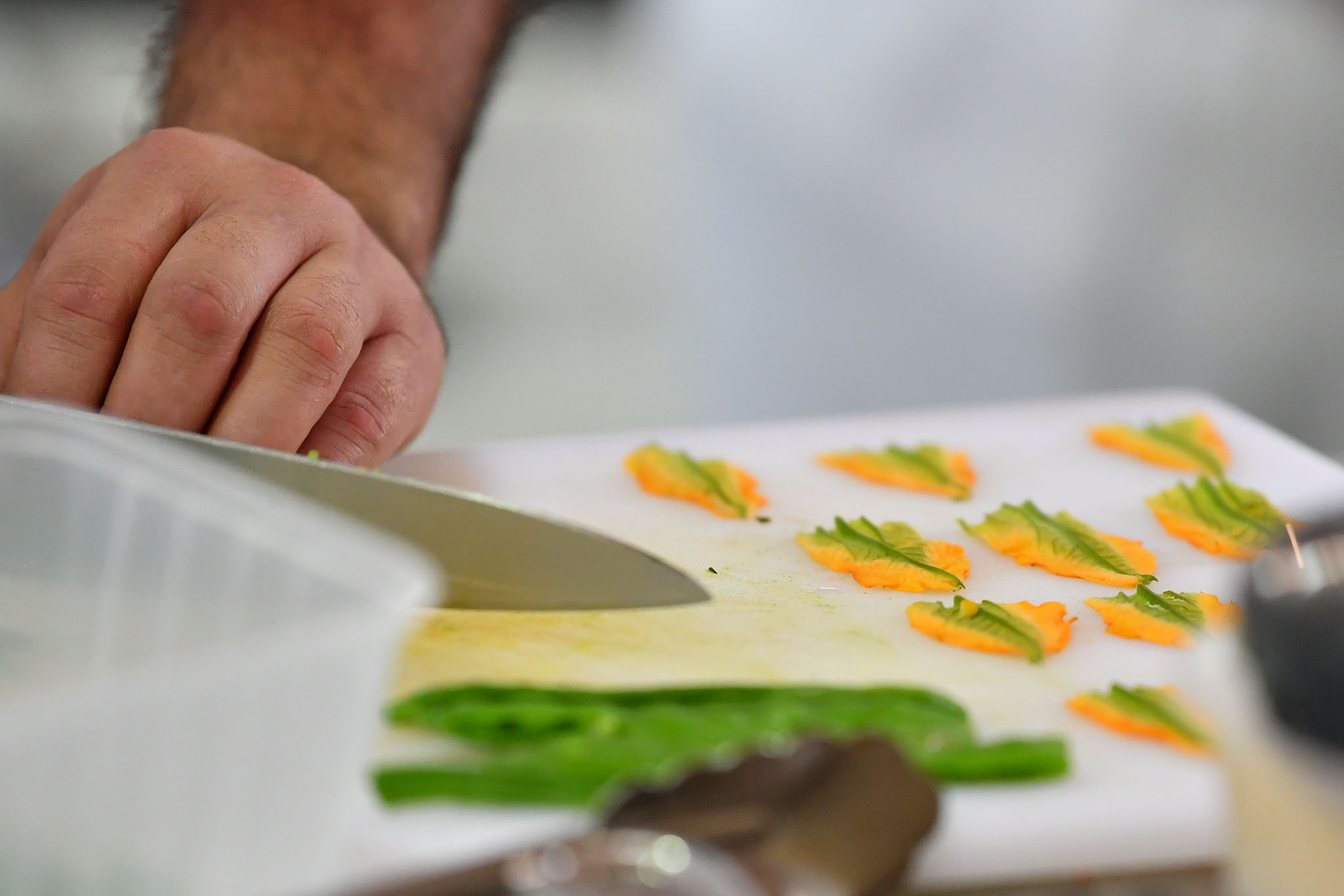 Melbourne, 30 May 2017 - Daniel Soto of the Montague Hotel in South Melbourne prepares a garnish at the Australian selection trials of the Bocuse d'Or culinary competition held during the Food Service Australia show at the Royal Exhibition Building in Melbourne, Australia. Photo Sydney Low