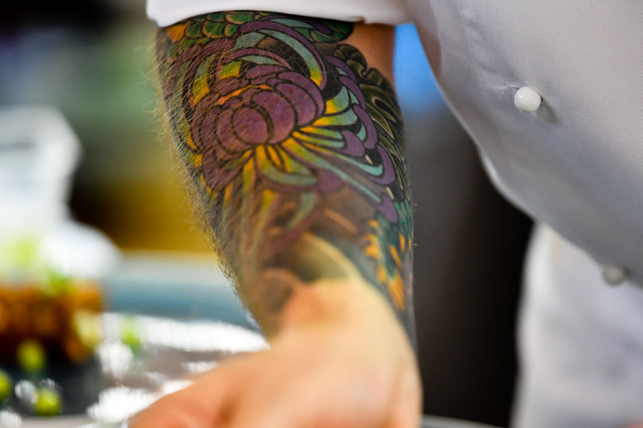 Melbourne, 30 May 2017 - A tatoo on the arm of Andrew Ballard of the Simmer Culinary in Mornington at the Australian selection trials of the Bocuse d'Or culinary competition held during the Food Service Australia show at the Royal Exhibition Building in Melbourne, Australia. Photo Sydney Low
