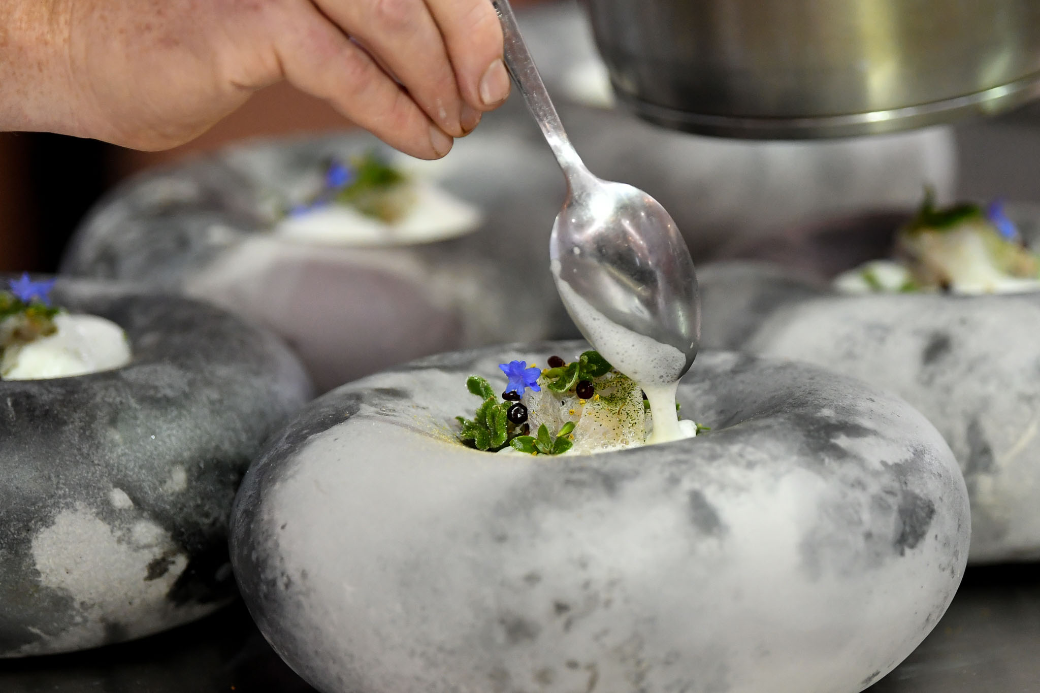 Melbourne, 30 May 2017 - Michael Cole of the Georgie Bass Café & Cookery in Flinders plates up his fish dish at the Australian selection trials of the Bocuse d'Or culinary competition held during the Food Service Australia show at the Royal Exhibition Building in Melbourne, Australia. Photo Sydney Low