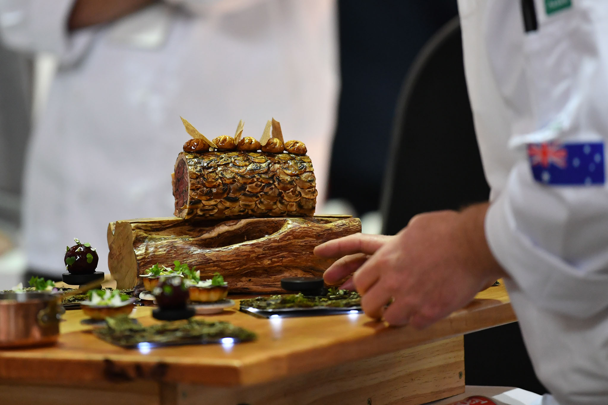 Melbourne, 30 May 2017 - Michael Cole of the Georgie Bass Café & Cookery in Flinders plates up his meat platter at the Australian selection trials of the Bocuse d'Or culinary competition held during the Food Service Australia show at the Royal Exhibition Building in Melbourne, Australia. Photo Sydney Low