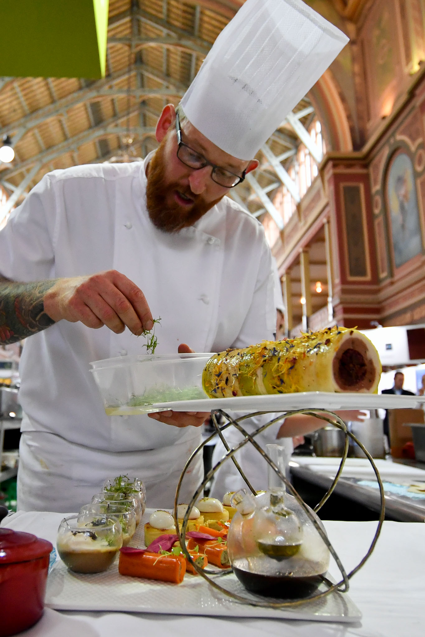 Melbourne, 30 May 2017 - Andrew Ballard of the Simmer Culinary in Mornington plates up his meat platter at the Australian selection trials of the Bocuse d'Or culinary competition held during the Food Service Australia show at the Royal Exhibition Building in Melbourne, Australia. Photo Sydney Low