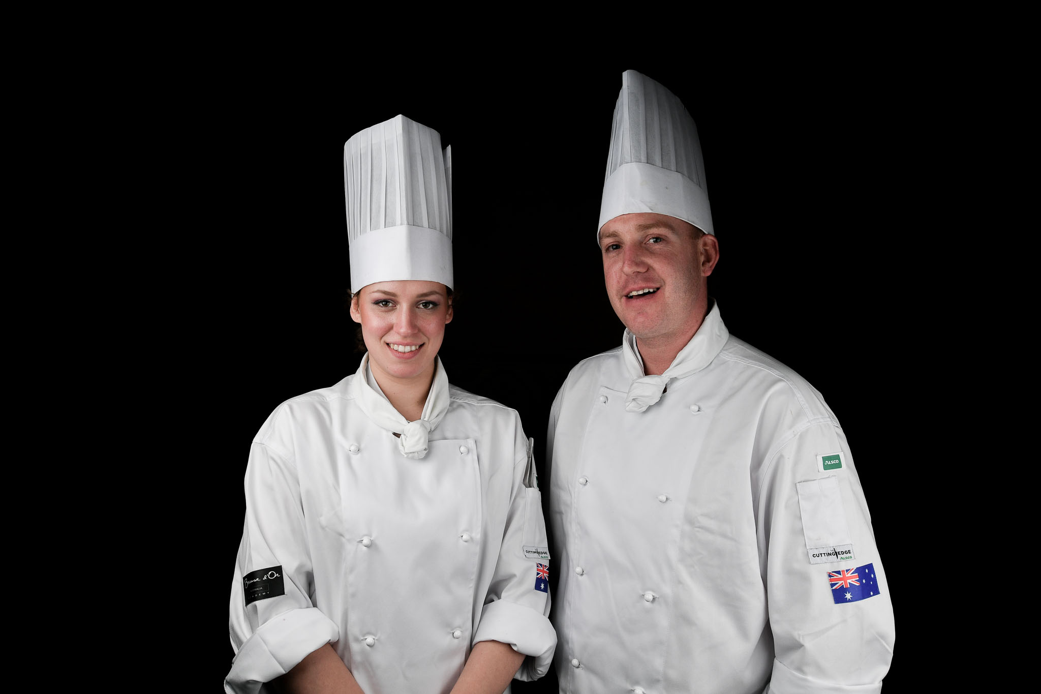 Melbourne, 30 May 2017 - Laura Skvor commis chef and Michael Cole of the Georgie Bass Café & Cookery in Flinders pose for a photograph at the Australian selection trials of the Bocuse d'Or culinary competition held during the Food Service Australia show at the Royal Exhibition Building in Melbourne, Australia. Photo Sydney Low