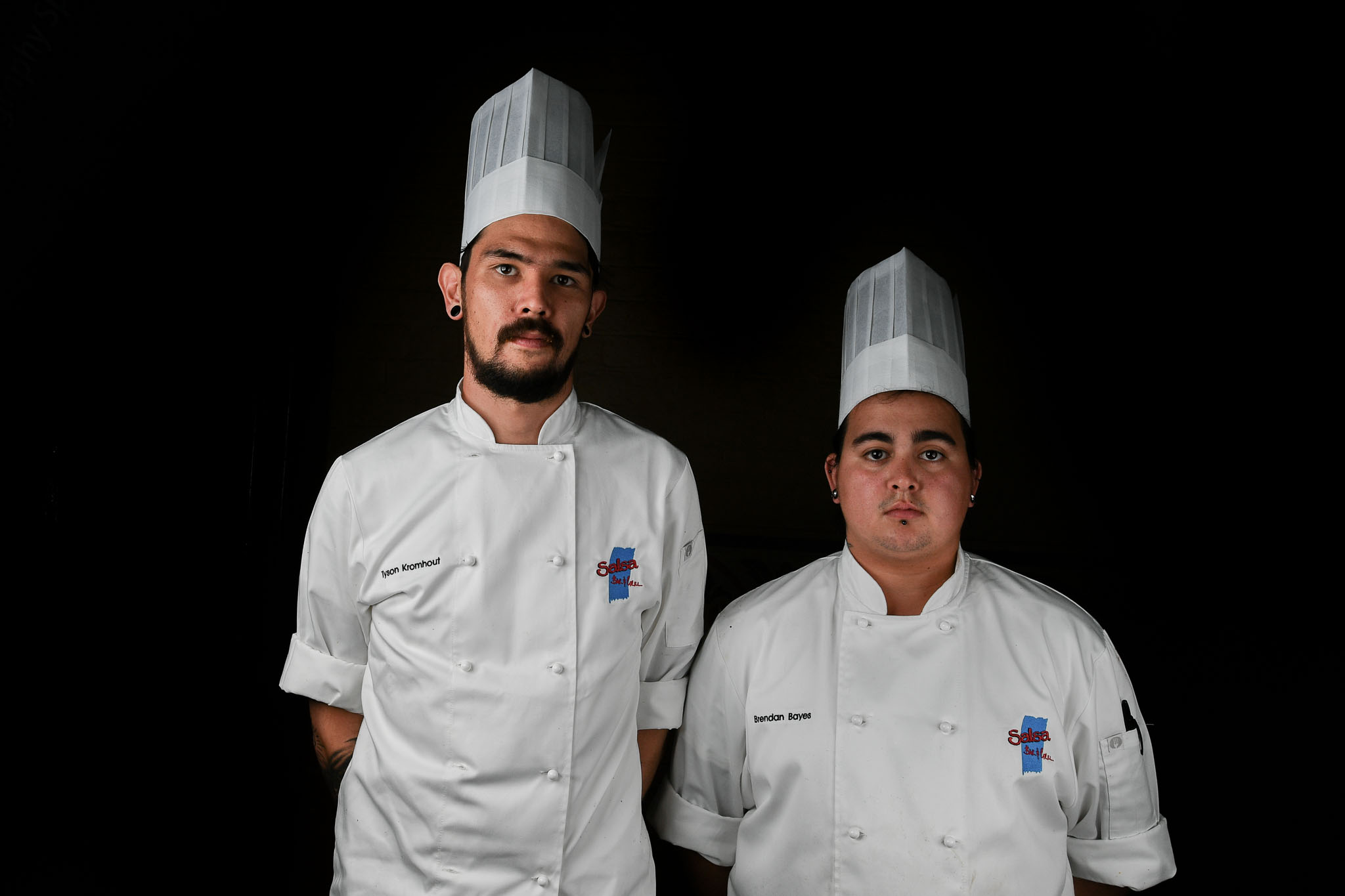 Melbourne, 30 May 2017 - Tyson Kromhout and Brendan Bayes commis chef of the Salsa Bar & Grill in Port Douglas pose for a photograph at the Australian selection trials of the Bocuse d'Or culinary competition held during the Food Service Australia show at the Royal Exhibition Building in Melbourne, Australia. Photo Sydney Low