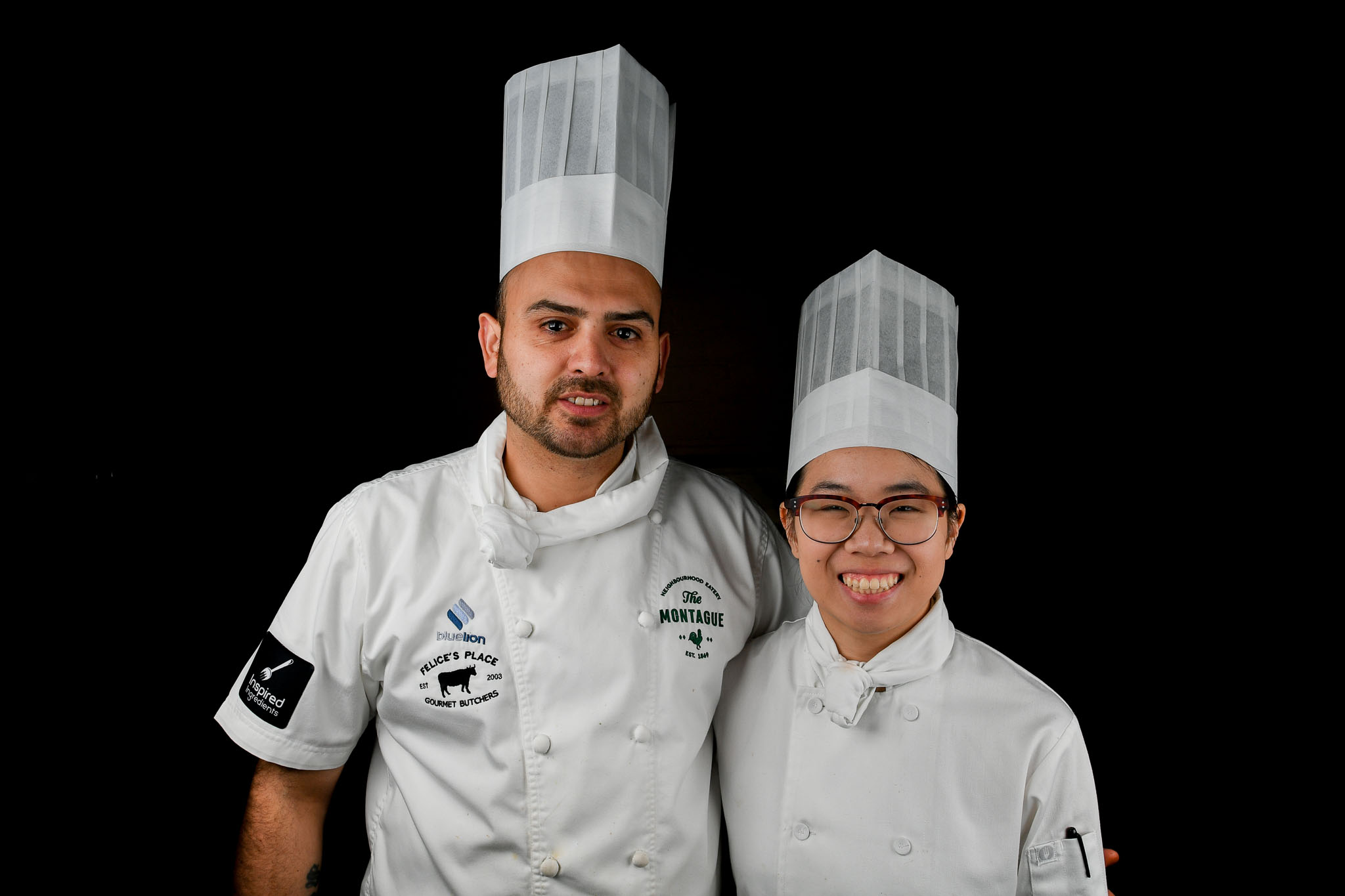 Melbourne, 30 May 2017 - Daniel Soto and Kimberly Tang commis chef of the Montague Hotel in South Melbourne pose for a photograph at the Australian selection trials of the Bocuse d'Or culinary competition held during the Food Service Australia show at the Royal Exhibition Building in Melbourne, Australia. Photo Sydney Low