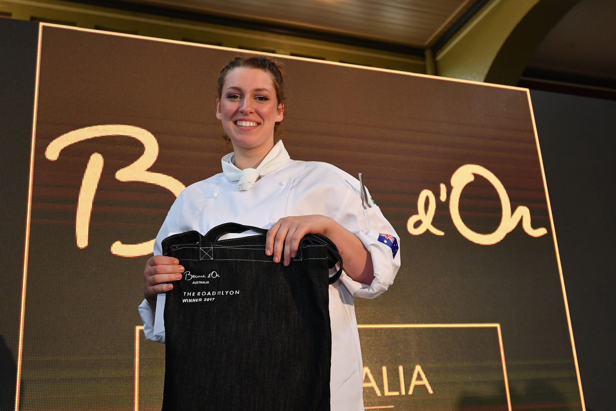 Melbourne, 30 May 2017 - Laura Skvor commis chef assisting Michael Cole of the Georgie Bass Café & Cookery in Flinders wins the award for the best commis chef at the Australian selection trials of the Bocuse d'Or culinary competition held during the Food Service Australia show at the Royal Exhibition Building in Melbourne, Australia. Photo Sydney Low